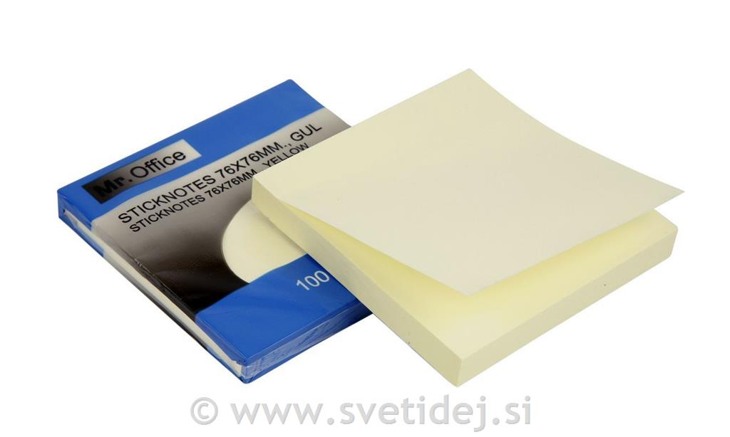 Post-it blok, 75x75 mm, set 12